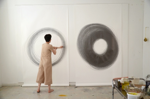 Ana Mendes, performance/installation, drawing, graphite pencil, paper, 2019, exhibition view, at Artificial Nature, Nordic Art Association, Stockholm, Sweden, 2019