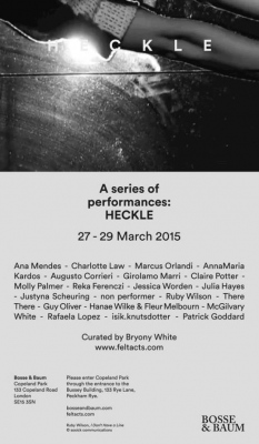 Self-portrait is back to London, in March, for festival Heckle, curated by Bryony White at Bosse and Baum.