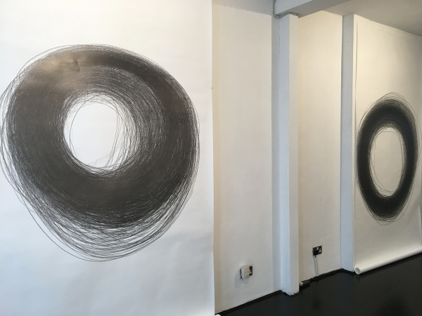 Ana Mendes, Drawing IV, performance/installation, 2019, exhibition view Nordic Art Association, Stockholm, Sweden (c) Photo Daria Jelonek